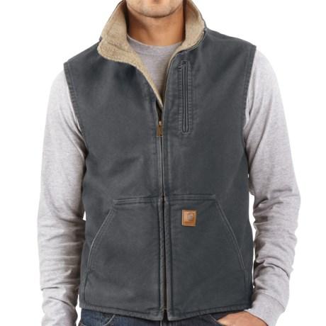 Carhartt Sandstone Mock Neck Vest - Sherpa Lining, Factory Seconds (For Big Men)