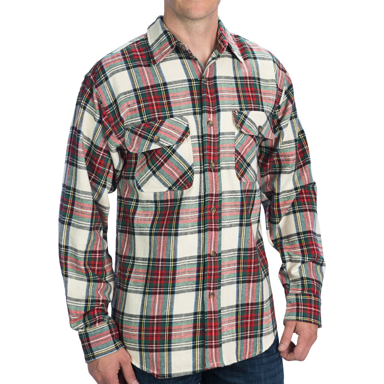 Kilimanjaro brawney tartan plaid flannel shirt for men for Flannel checked long sleeve shirt