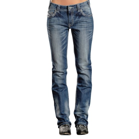 Rock & Roll Cowgirl Abstract Embroidered Jeans - Boyfriend Fit (For Women)