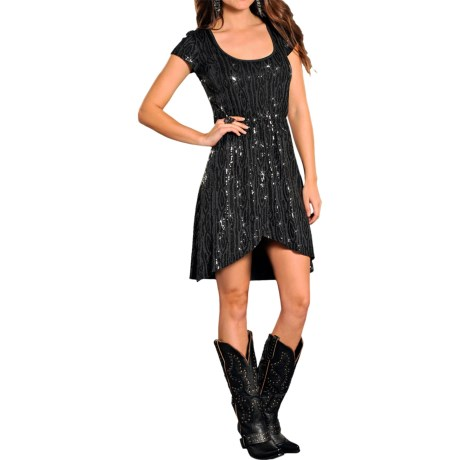 Rock & Roll Cowgirl Zebra Stripe Sequin Dress - Short Sleeve (For Women)