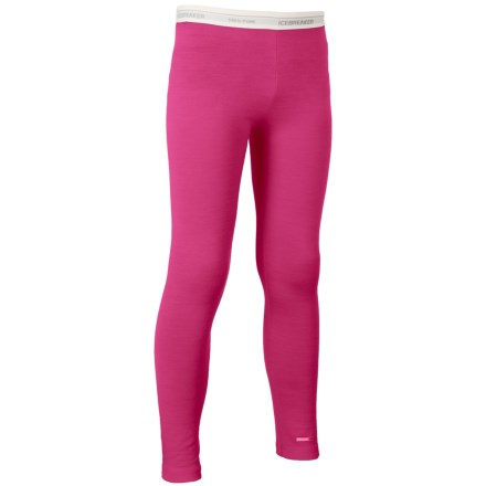 Icebreaker Oasis Base Layer Pants - UPF 30+, Merino Wool (For Little and Big Kids) in Magenta/White - Closeouts