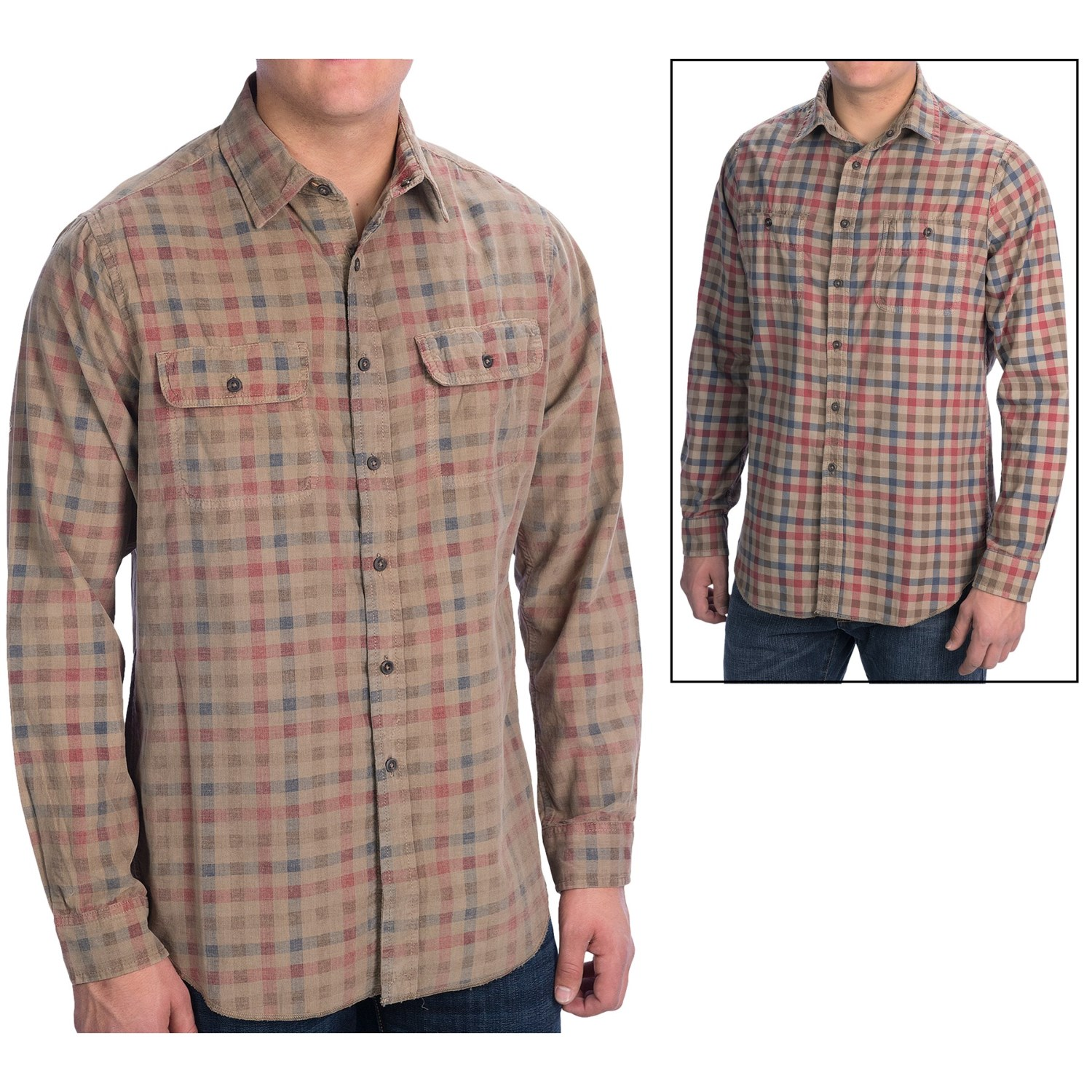 Tailor Vintage Reversible Gingham Corduroy Shirt For Men