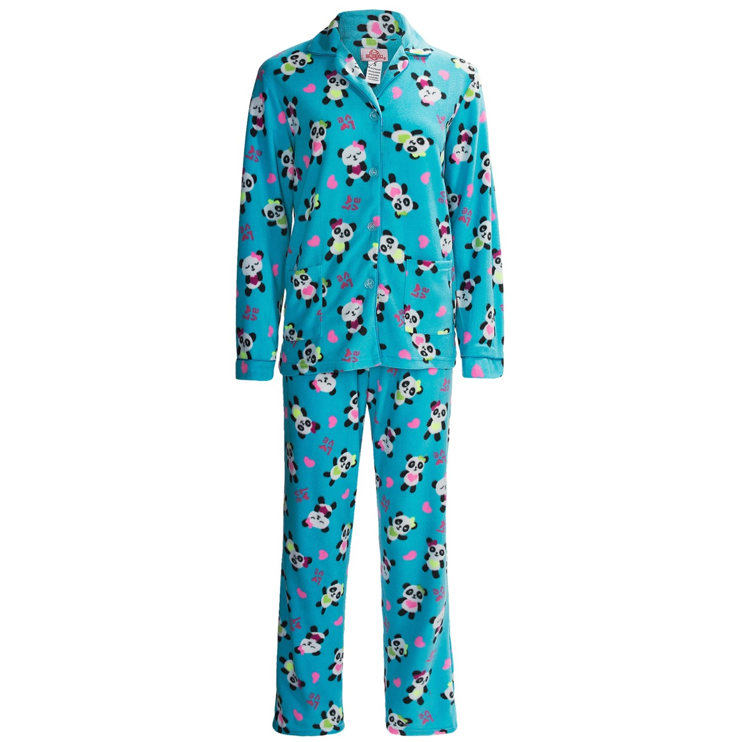 This cozy polar fleece pajama set will keep you warm and toasty on cold evenings. The black V neck shirt features mint stitching on the neckline and sleeves. The mint pants feature an adorable puppy print in addition to a covered elastic waistband with adjustable drawstring.