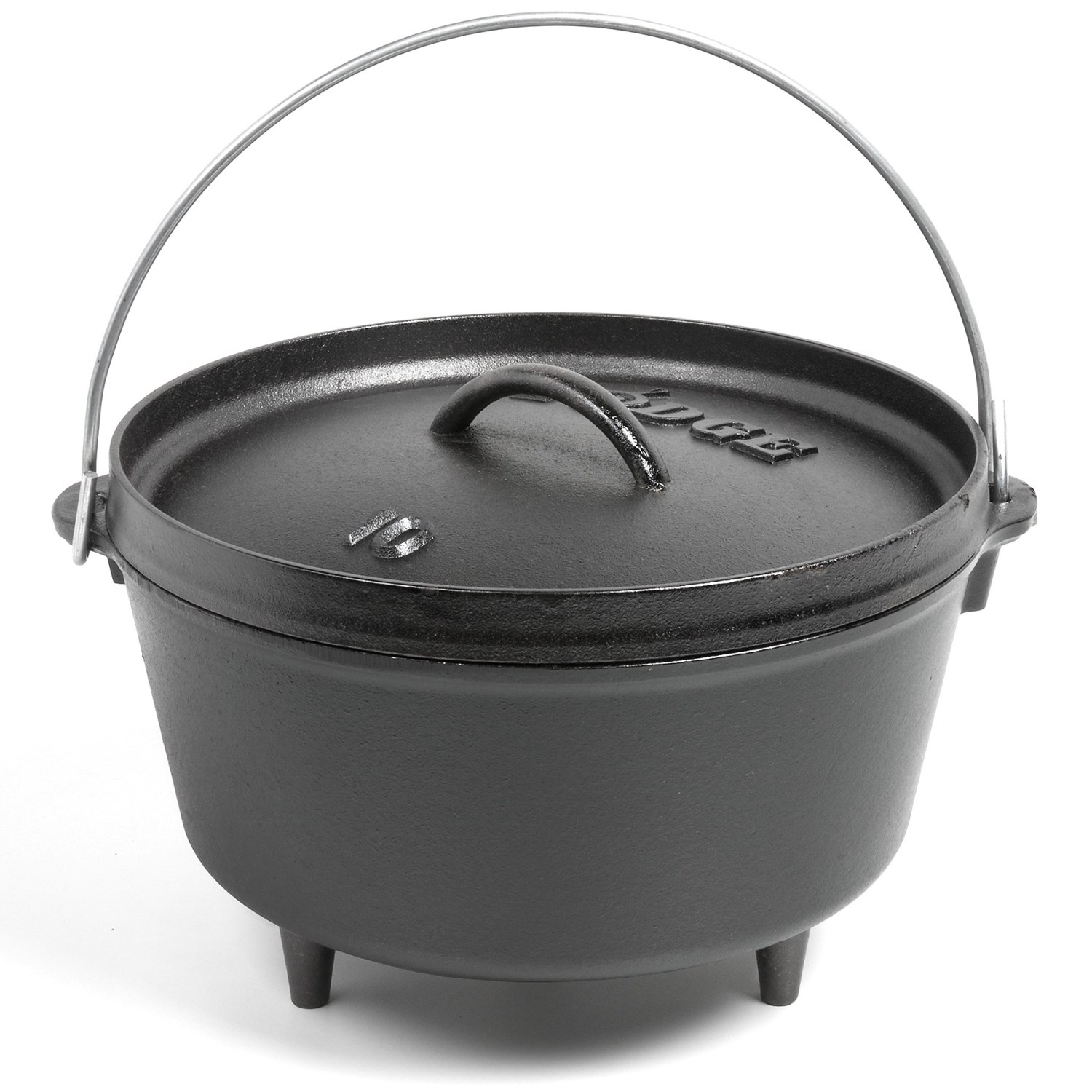 Lodge deep camp dutch oven cast iron 5 qt 8187h save 43 for Dutch oven camping recipes for two