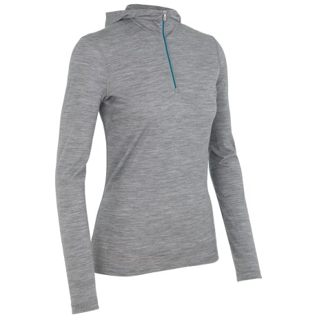 Icebreaker Bodyfit 200 Oasis Base Layer Hooded Top - UPF 30+, Zip Neck, Merino Wool, Long Sleeve (For Women)