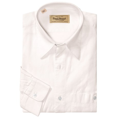 Paul Stuart Point Collar Twill Sport Shirt - Long Sleeve (For Men)