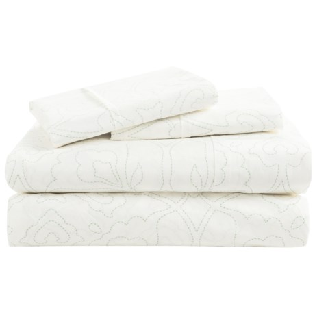 Barbara Barry Poetical Stitch Sheet Set - Queen, Cotton Percale