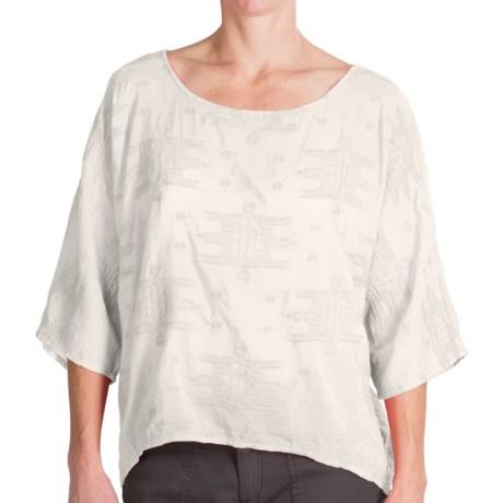 dylan Tribal Stitch Shirt - Cotton-Silk, Dolman Short Sleeve (For Women)