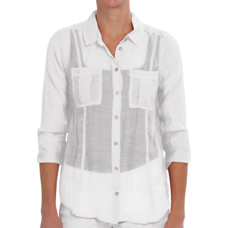 dylan Sand & Sea Silky Shirt - Button Down, Roll Long Sleeve (For Women)