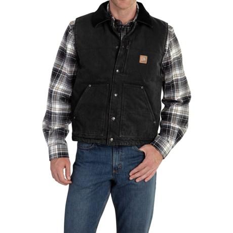 Carhartt Chapman Sandstone Duck Vest - Fleece Lining, Factory Seconds (For Big and Tall Men)