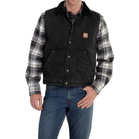 Carhartt Chapman Sandstone Duck Vest - Fleece Lining (For Men)
