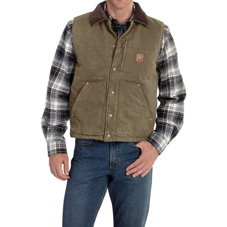 Carhartt Chapman Sandstone Duck Vest - Fleece Lining, Factory Seconds (For Men)