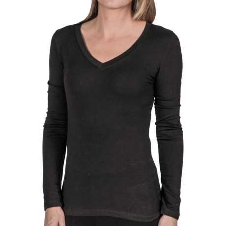 Stretch Cotton Shirt - V-Neck, Long Sleeve  (For Women)