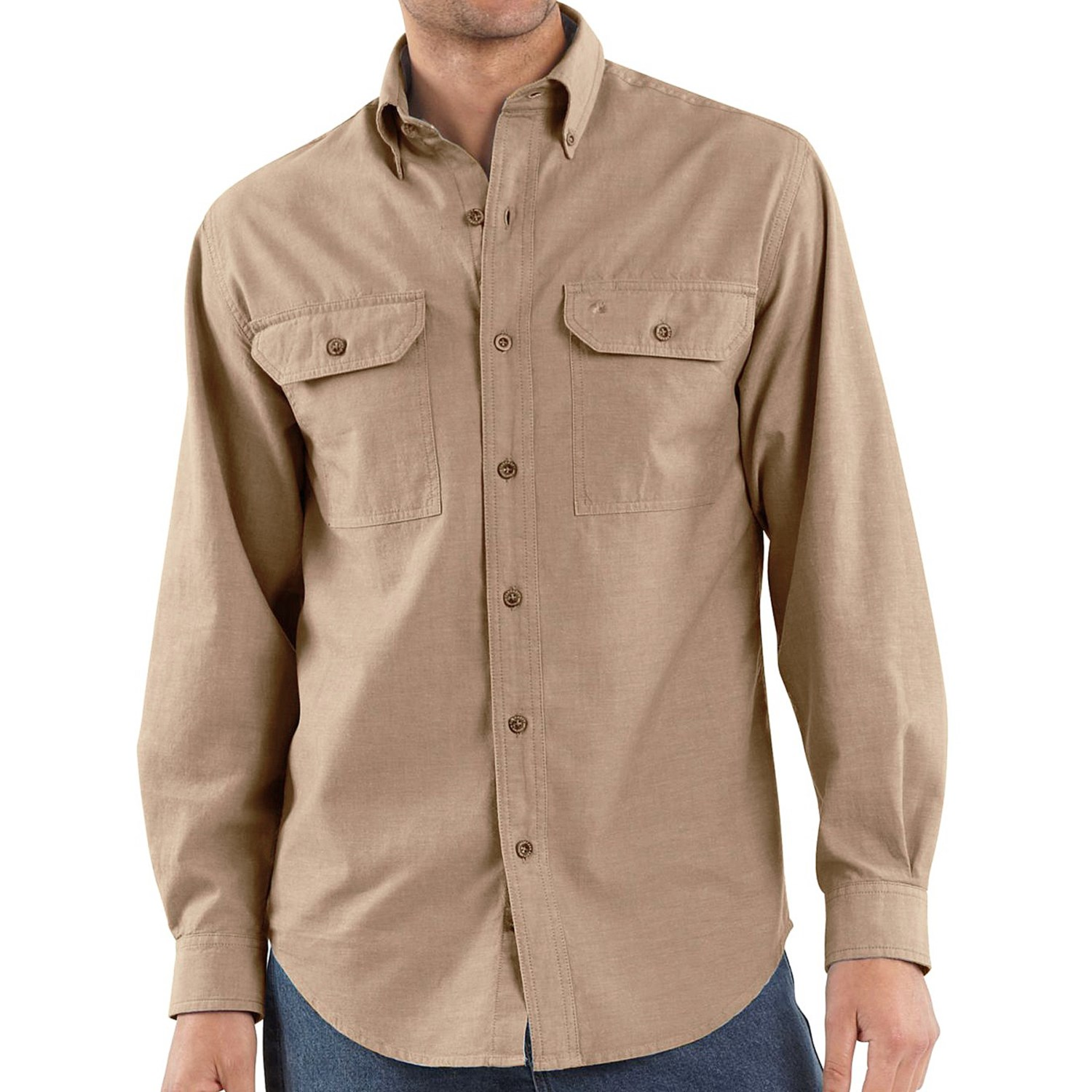 Gap Icon Worker Chambray Shirt. For a more blue-jeany button-up look, but without the heavy fabric, there's the Gap Icon Worker Chambray Shirt. Made more like an old-school work shirt you might see in a factory or machine shop than under a blazer, this button-up is made from % cotton and is completely machine washable.