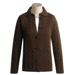 J.G. Glover & CO. Peregrine by J.G. Glover Aran Cable-Knit Cardigan Sweater - Peruvian Merino Wool (For Women)