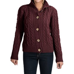 Peregrine Aran Turtleneck Cardigan Sweater - Peruvian Merino Wool (For Women)