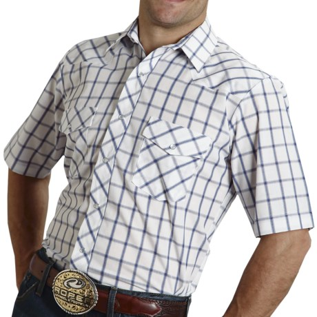 Roper Classic Grid Plaid Shirt - Short Sleeve (For Men)