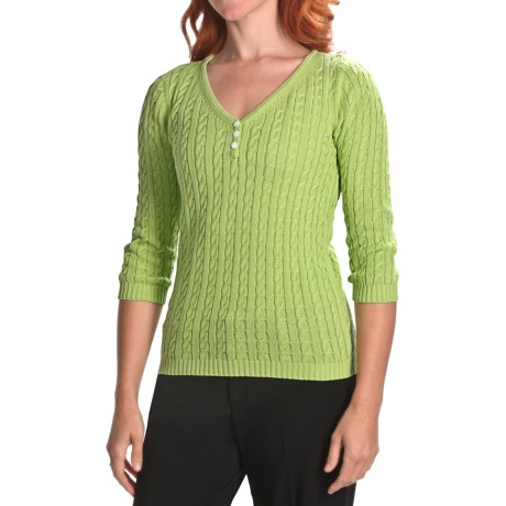 Womyn Cotton Cable-Knit Sweater - V-Neck, 3/4 Sleeve (For Women)