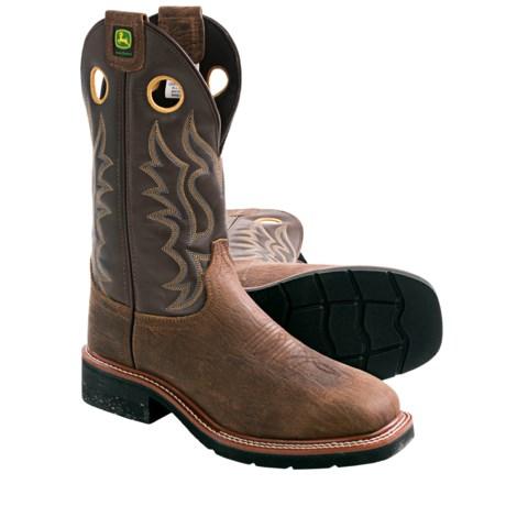 """John Deere Footwear 12"""" Western Work Boots - Leather, Steel Toe (For Men)"""