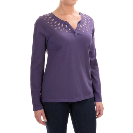 Woolrich First Forks Split Neck Embroidered Shirt - Long Sleeve (For Women)