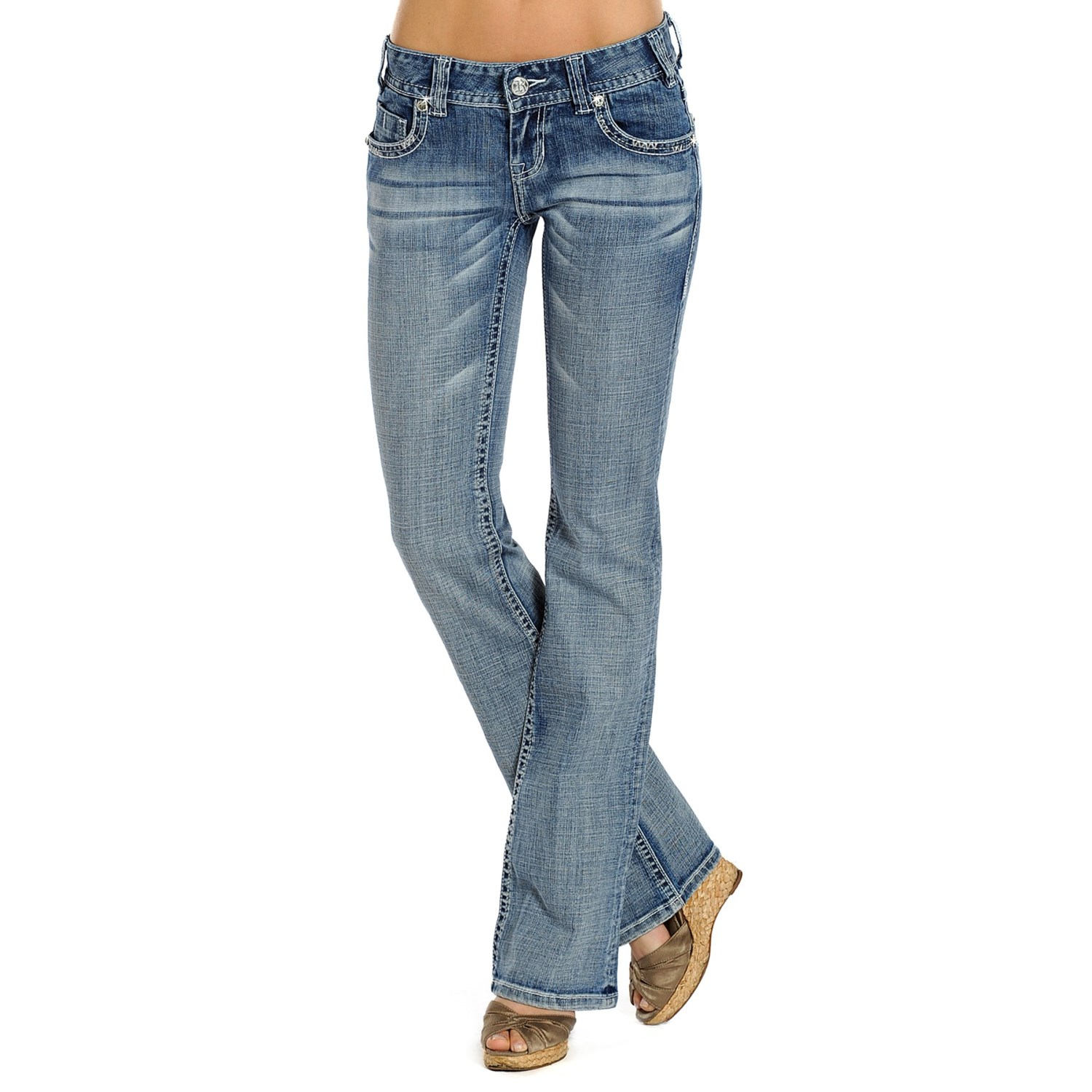 Rock roll cowgirl embroidered jeans for women c
