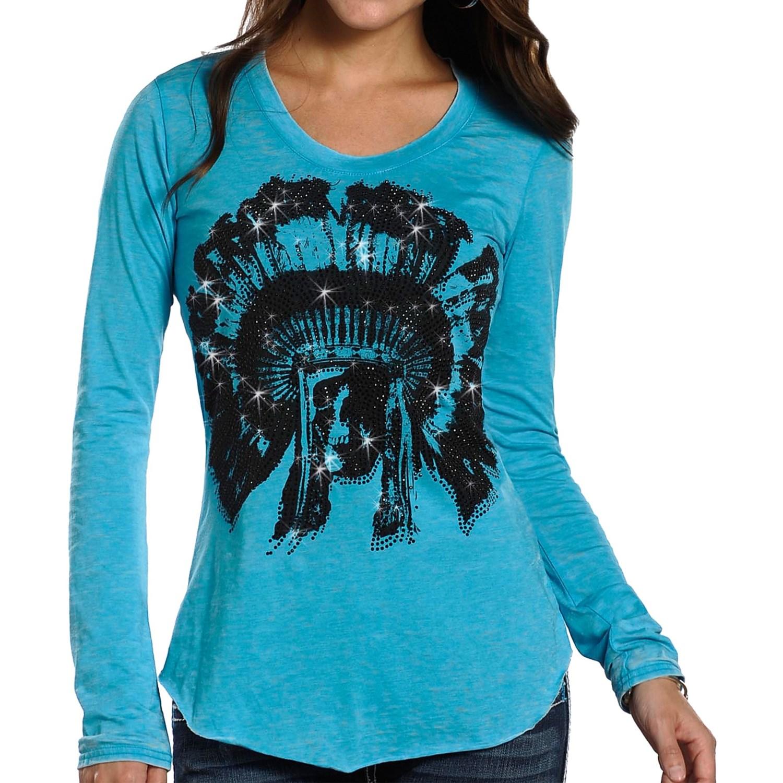 Rock roll cowgirl raw edge t shirt for women 8523j for Raw edge t shirt women s