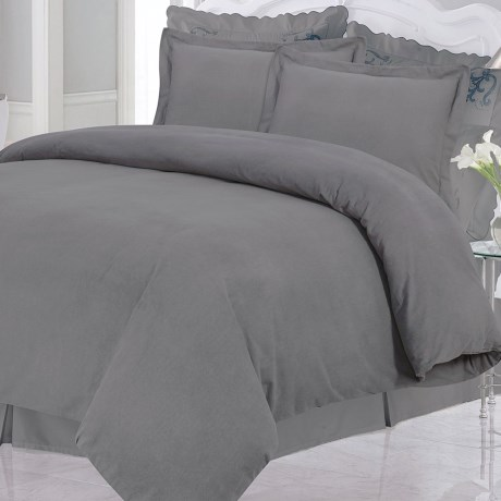 Azores Home Solid Heavyweight Flannel Duvet Set - Queen, 200gsm Cotton