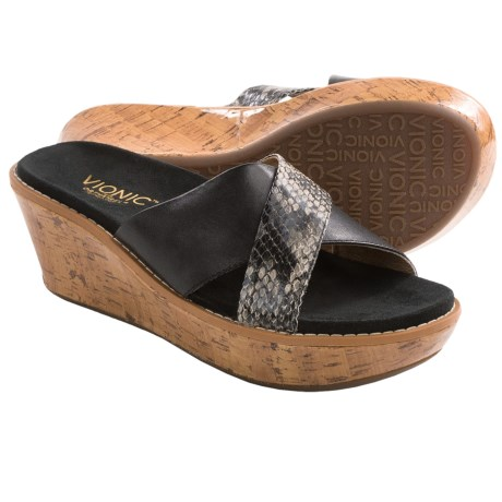 Vionic with Orthaheel Technology Montego Wedge Sandals - Leather, Slip-Ons (For Women)