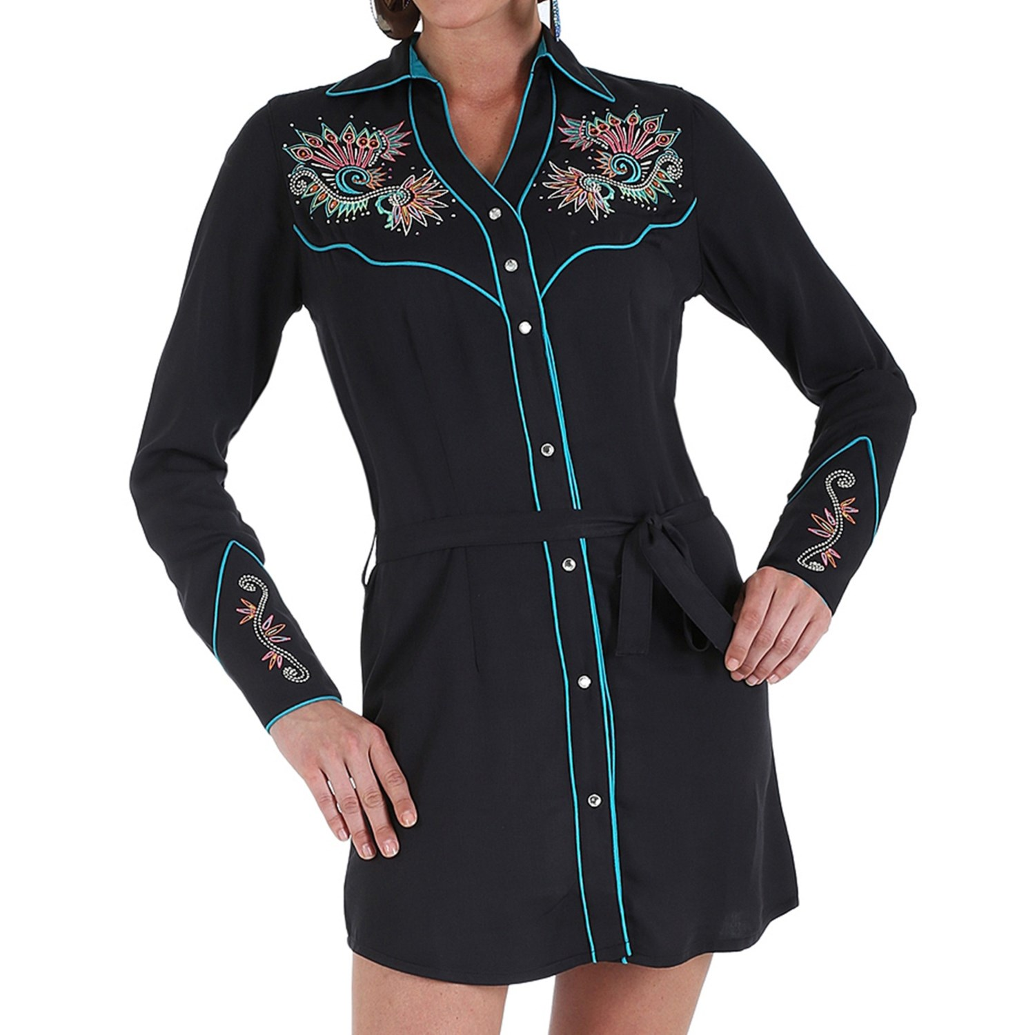 Wrangler embroidered shirt dress for women 8660k save 52 Women s long sleeve shirt dress