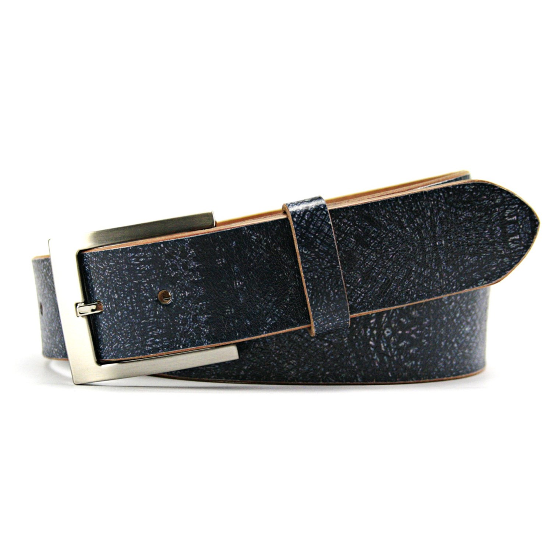 leather island by bill lavin indigo blue belt for