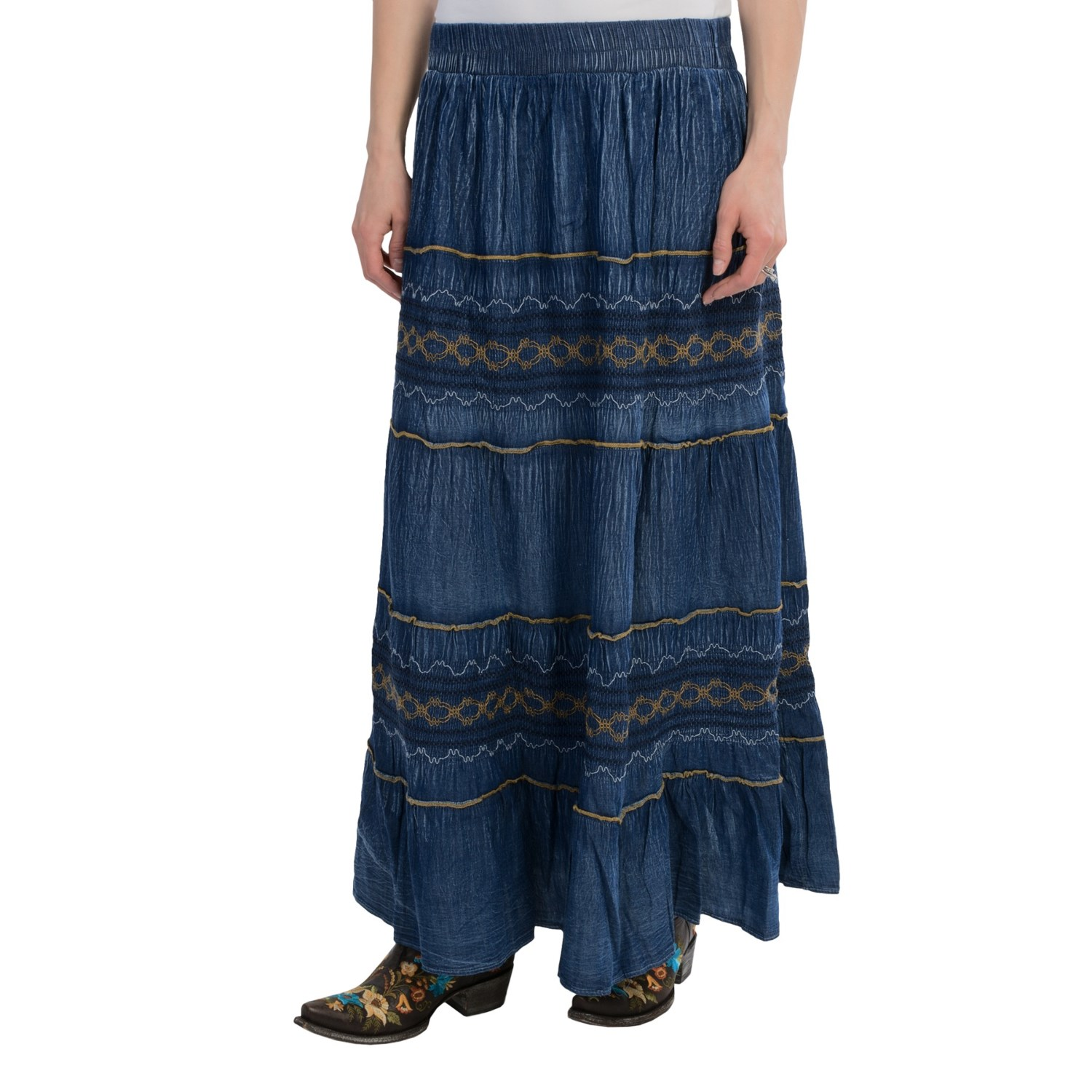 studio west denim flounce embroidered skirt for