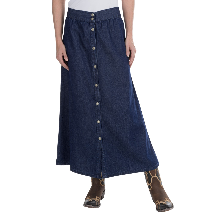 studio west classic denim button front skirt for