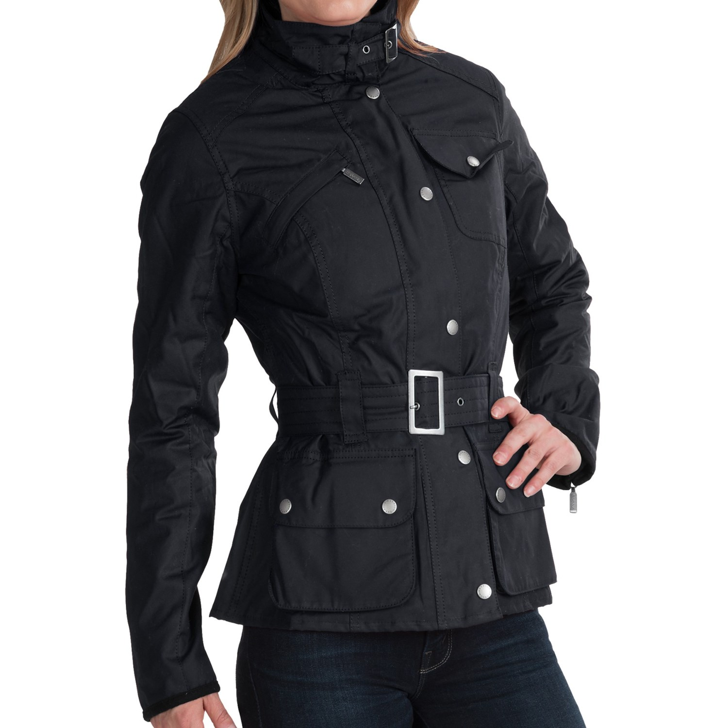 Barbour International Waxed Cotton Biker Jacket (For Women). Click to expand