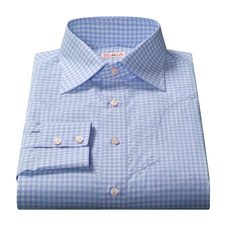 Isaia Gingham Check Dress Shirt - Cotton, Long Sleeve (For Men)