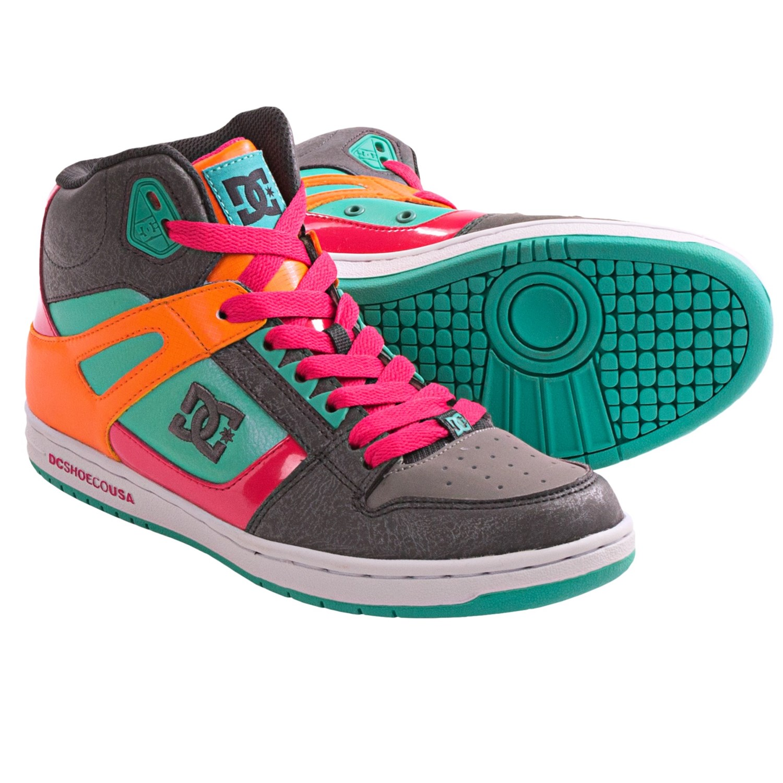 DC Rebound Purple boots - womens skate shoes - hi top traine