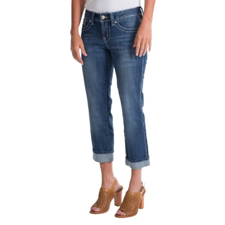 Cowgirl Up Antler Bling Crop Jeans - Mid Rise (For Women)
