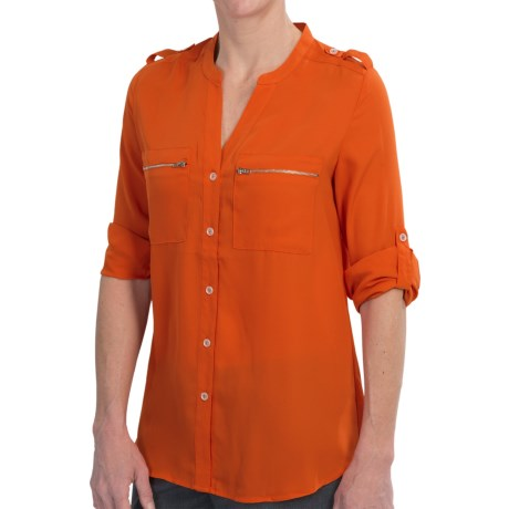 Tracy M Georgette Shirt - Roll-Up Long Sleeve (For Women)