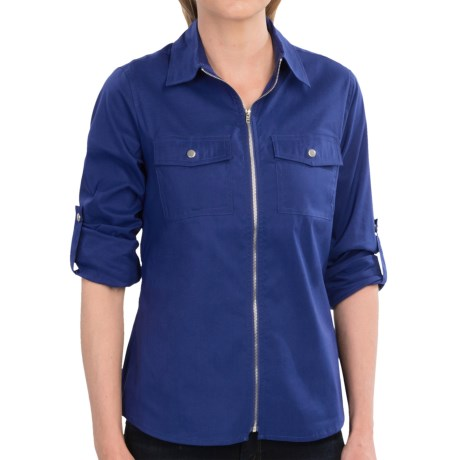 Tracy M Zip Front Shirt - Roll-Up Long Sleeve (For Women)