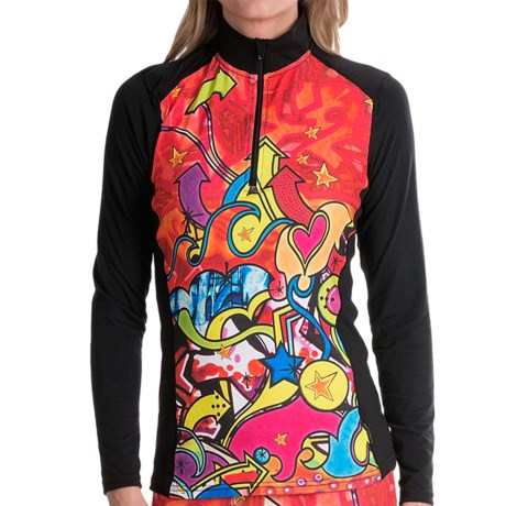 Hot Chillys MTF4000 Print Base Layer Top - Midweight, Zip Neck, Long Sleeve (For Women)