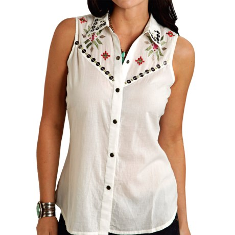 Roper Red Haute Embellished Shirt - Snap Front, Sleeveless (For Women)
