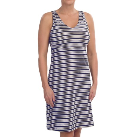 Double V-Neck A-Line Dress - Stretch Cotton Jersey, Sleeveless (For Women)