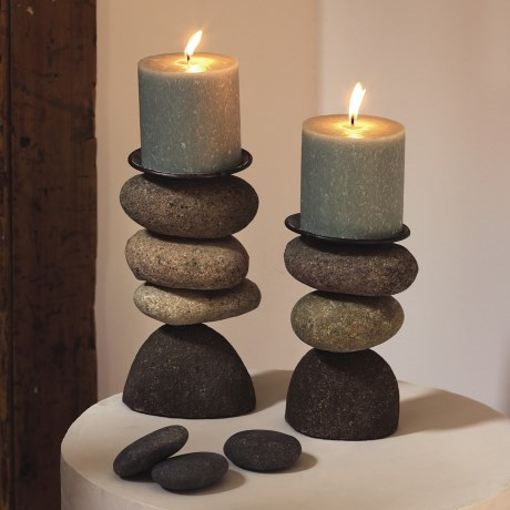Ancient Graffiti Cairn Candle Holder - 3-Stone