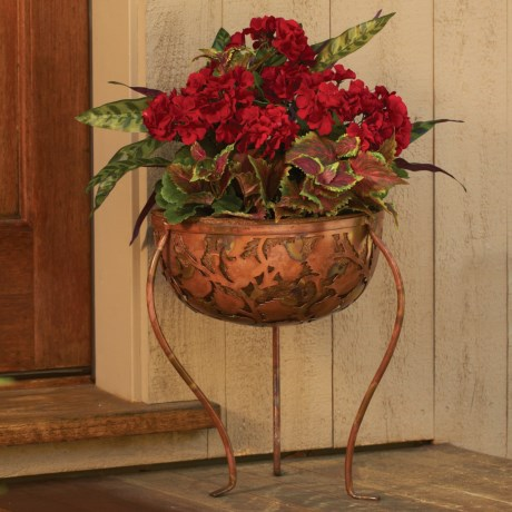 Ancient Graffiti Etched Metal Standing Planter