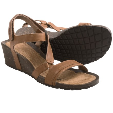 Teva Cabrillo Crossover Wedge Sandals - Leather (For Women) in Tan - Closeouts
