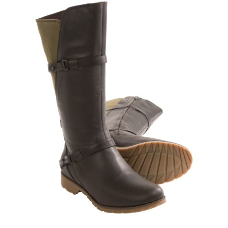 Teva De La Vina Tall Boots - Leather and Canvas, Full Zip (For Women)