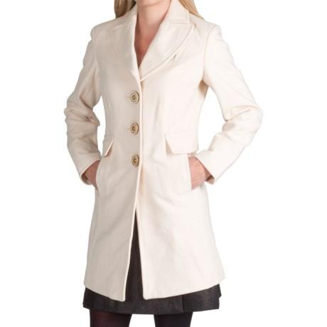 Wool Blend Fitted Walker Coat (For Women)
