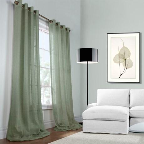 """Habitat Open Weave Sheer Belgian Linen Curtains - 100x96"""", Grommet Top"""