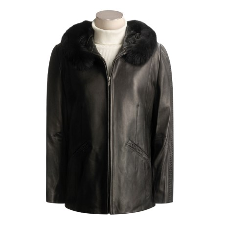 Tibor Leather Fur-Trimmed Leather Jacket - Insulated Liner, Plus Size (For Women)