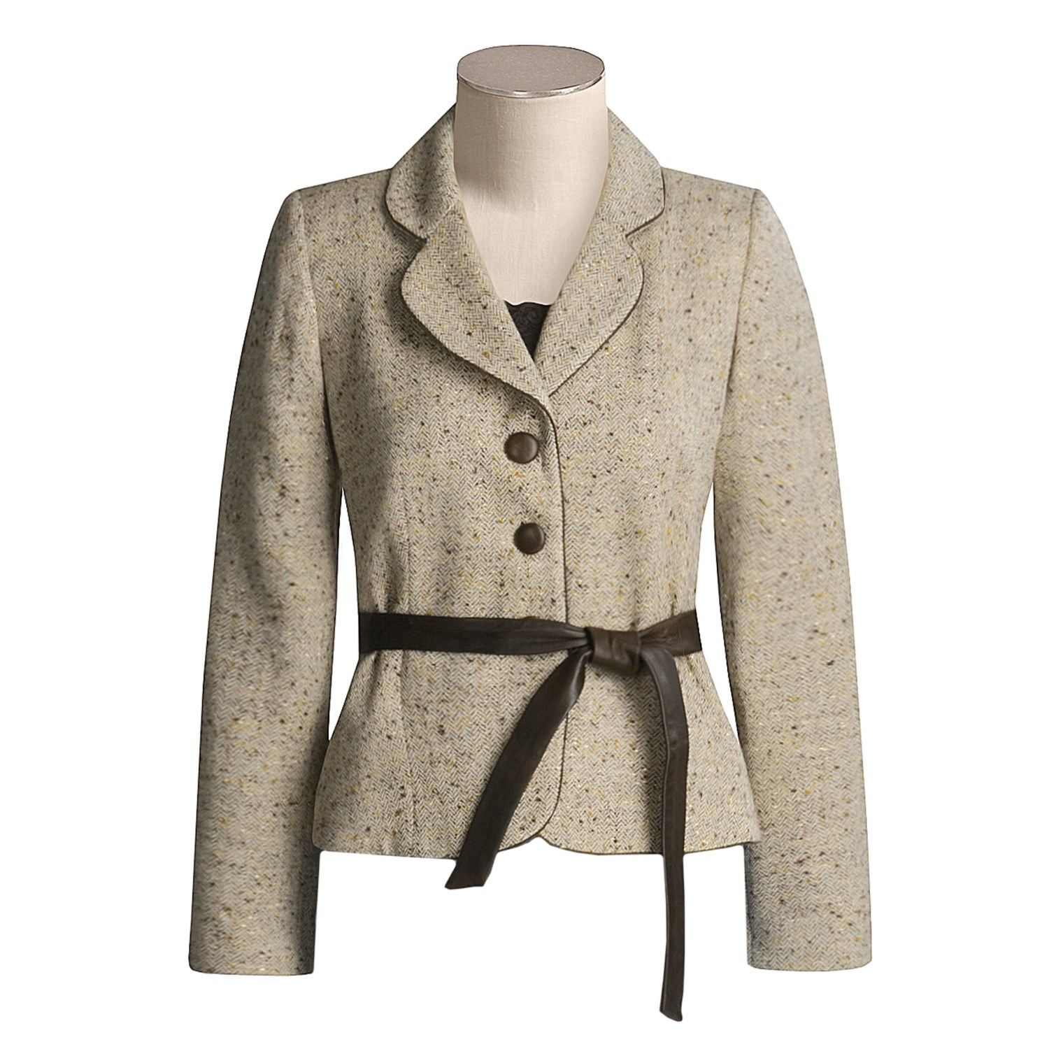 z by tweed jacket with leather belt for