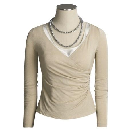 Z by Zelda Glitter Wrap Shirt - Long Sleeve (For Women)